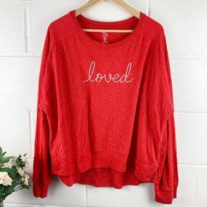 'Loved' Red & White Pullover Sweater Size 2X